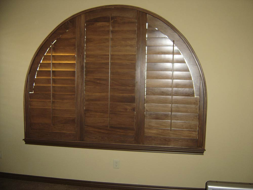 custom-made wooden window coverings, dome shape