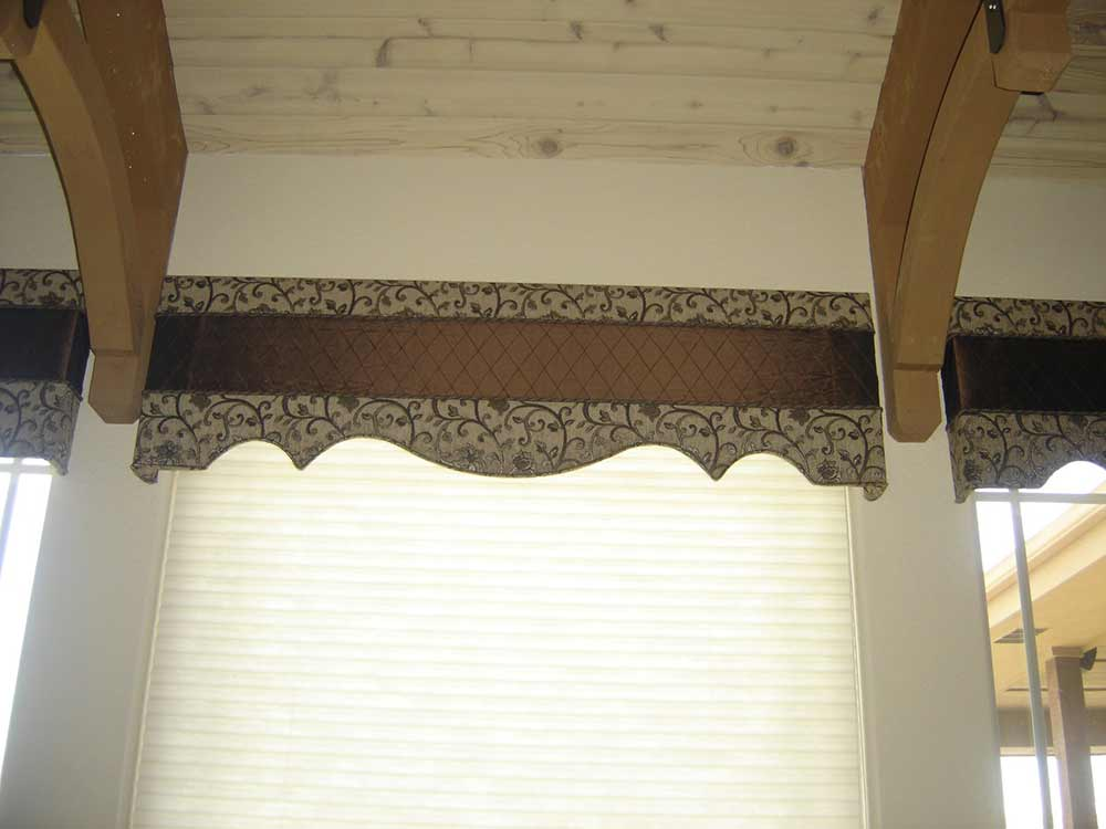 brown and beige window valence