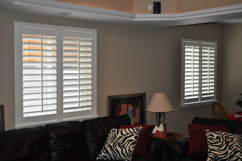 white slatted window coverings