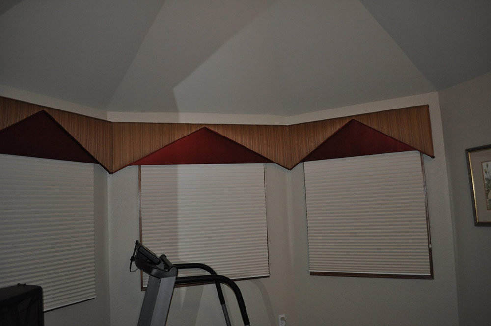 thin vertical striped window valances with red accent color