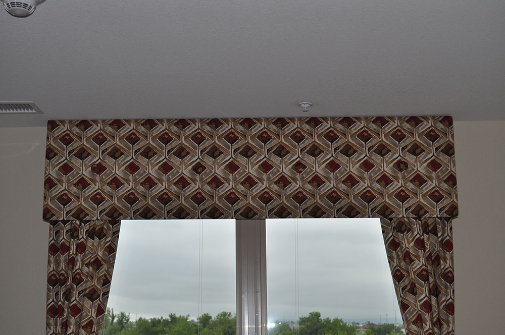 graphic print window valence and matching curtains