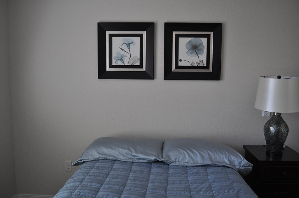 blue spare bedroom