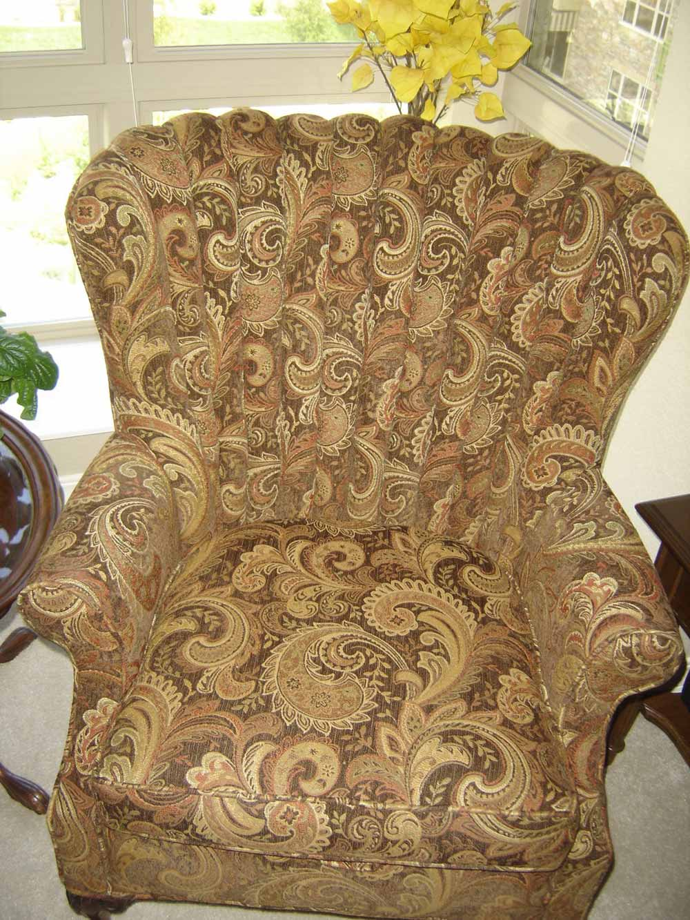 traditional paisley upholstery on accent chair