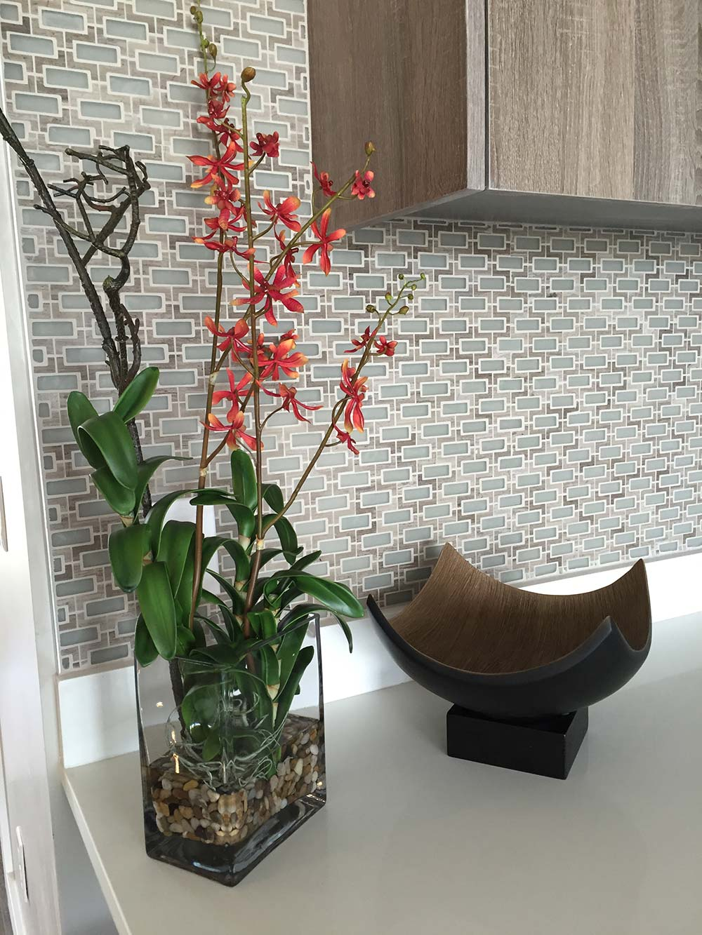 decorative items on kitchen counter